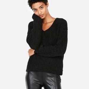 Express Black Oversized Chenille Sweater Size XS